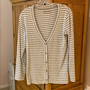 Cotton striped cardigan-style top